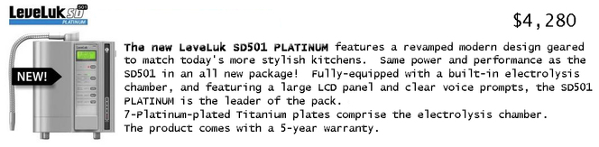 Enagic Products at a glance: LeveLuk SD501 Platinum